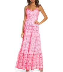 women's lily pulitzer kyla embroidered eyelet sleeveless maxi dress, size 14 - pink