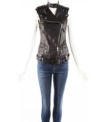 balmain pierre black leather biker vest black sz: s
