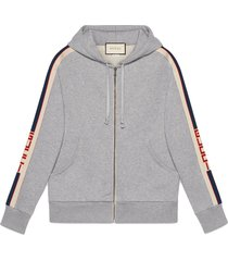 gucci hooded zip-up sweatshirt with gucci stripe - grey