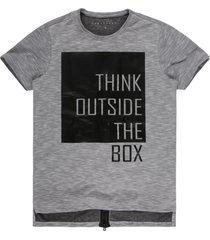 camiseta masculina think outside com zíper off white