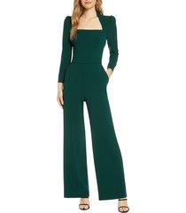 women's eliza j long sleeve jumpsuit, size 14 - green