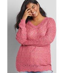 lane bryant women's pointelle double v-neck pullover sweater 26/28 rose
