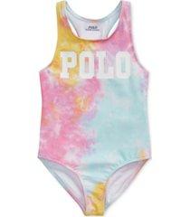 polo ralph lauren little girls tie-dye one-piece swimsuit