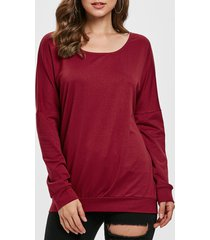 drop shoulder scoop neck sweatshirt