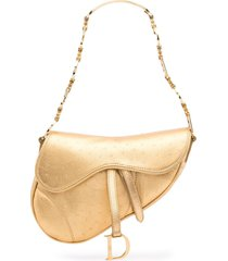 christian dior pre-owned saddle shoulder bag - gold
