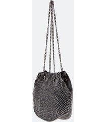 dani mini rhinestone bucket bag in black - black