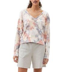 women's michael stars camila v-neck crop sweatshirt, size large - pink