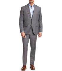 saks fifth avenue men's collection subtly textured wool suit - grey - size 42 r