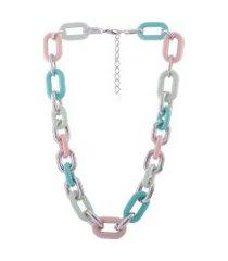colar curto resinado armazem rr bijoux corrente colorida prata