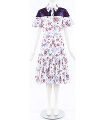carolina herrera 2019 floral cotton crystal dress blue/white/floral print sz: l