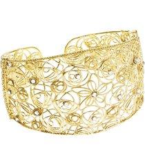 bracciale bangle big in argento 925 dorato e cristalli per donna