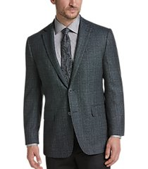 joseph abboud limited edition teal plaid modern fit sport coat