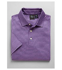 traveler collection traditional fit micro dot stripe short-sleeve men's polo shirt