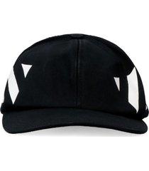 off-white baseball hat with flat visor