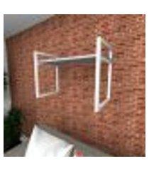 prateleira industrial para sala aço branco prateleiras 30 cm cinza modelo indb03csl