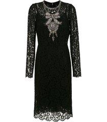 dolce & gabbana crystal embellished lace dress - black