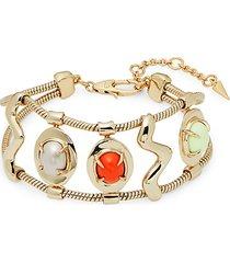 10k goldplated, 10mm freshwater pearl & lemon chrysoprase bracelet