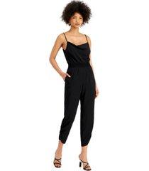 bar iii sleeveless smocked-waist v-neck jumpsuit, created for macy's