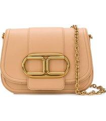 elisabetta franchi logo buckle shoulder bag - neutrals