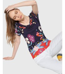 camiseta azul-rojo-multicolor desigual