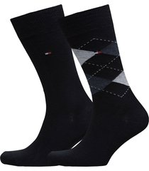 th men sock check 2-pack underwear socks regular socks blå tommy hilfiger