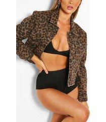 leopard print cropped jean jacket, leopard