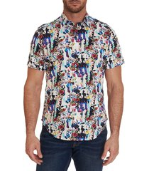 robert graham men's aviation classic-fit floral short-sleeve shirt - size l