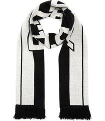 logo stripe cashmere scarf