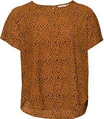 carluxeve ss top aop t-shirts & tops short-sleeved brun only carmakoma