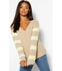colourblock v neck sweater, stone