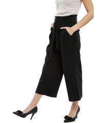 pantalón vero moda coco hw culotte negro - calce holgado