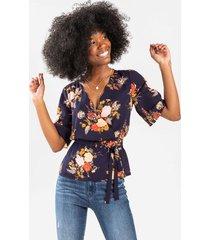 alexandra floral wrap blouse - navy