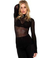 blusa lupo segunda pele preta - preto - feminino - poliamida - dafiti