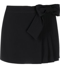 red valentino bow-detail pleated skort - black