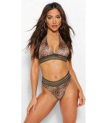 geo tape leopard halterneck bikini, leopard