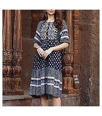 embroidered viscose dress, 'bohemian charm' (india)