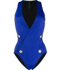 balmain buttoned wrap swimsuit - blue