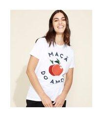 t-shirt feminina mindset maçã do amor manga curta decote redondo branca