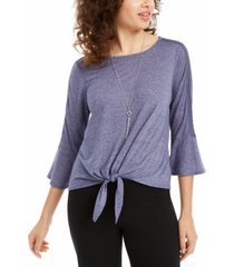 bcx juniors' crochet-trimmed tie-front top with necklace