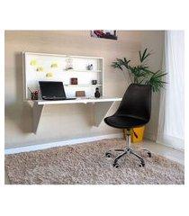 conjunto escrivaninha retrátil branca + cadeira eiffel office base giratória - preta