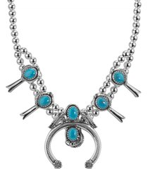 american west turquoise naja and squash blossom necklace in sterling silver