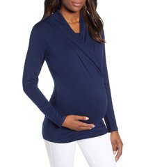 angel maternity maternity/nursing top, size x-large in navy at nordstrom