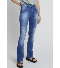 calça jeans feminina sawary boot cut cintura média destroyed azul médio