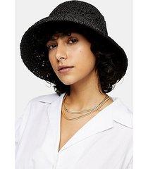 black straw bucket hat - black