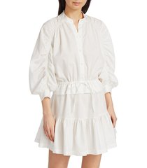 frame women's ruched sleeve poplin mini dress - white - size m