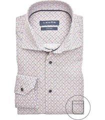 ledub overhemd printje roze bruin modern fit