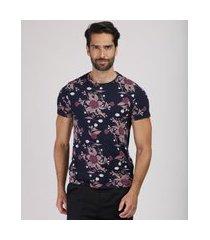 camiseta masculina slim estampada floral manga curta gola careca azul marinho