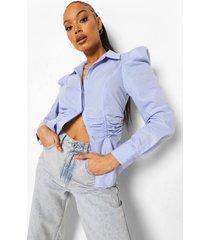 getailleerde blouse met geplooide taille, powder blue