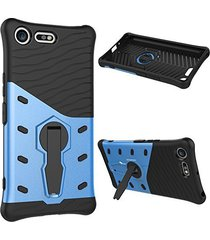 xperia xz premium case,xyx [360 degree rotating series][black blue][hybrid armor