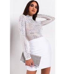 akira love it long sleeve mesh bodysuit with mock neck
